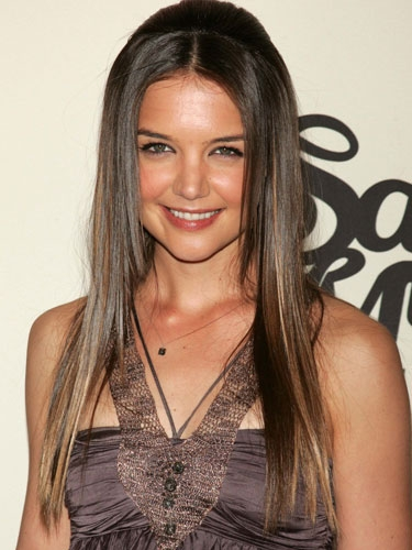 katie holmes hair color. Her stylish hair color with