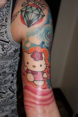 Colorful scene tattoo designs for Hello kitty tattoo sleeve