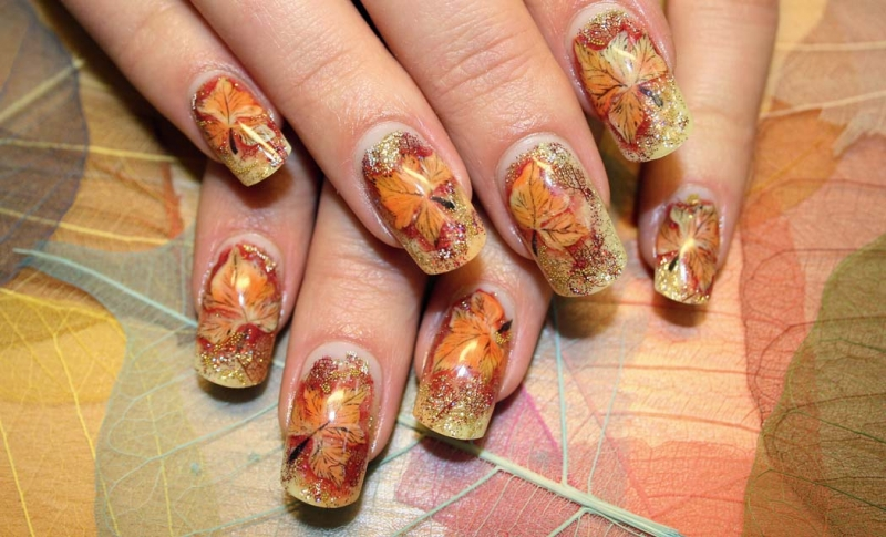 Romantic Fall  Nail Art Ideas