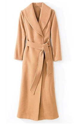 Plus size cashmere camel coat