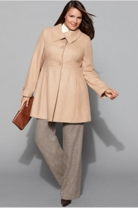 Plus size camel coat