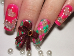 manicure thumb superb nails shiny look ribbons with rhinestones ribbons nails art ribbons nail manicure pinky shade modern manicure glitter effect French manicure decorated nails amazing polish