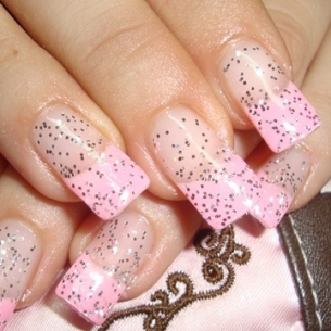 nail art designs thumb varnish with glitter Stylish manicure Shiny nails art shiny effect pink shade perfect manicure French manicure decorated nails beautiful manicure amazing design