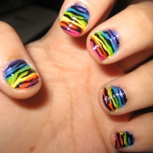zebra nail art 2 thumb Colorful nails art design   Nail Manicure in So different Shades