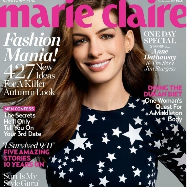 Anne Hathaway Covers Marie Claire UK September 2011