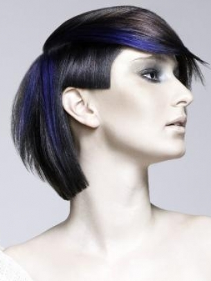 Black Hair and Purple Highlights