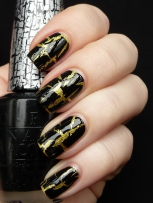 Black and Gold Crackle Nail Art