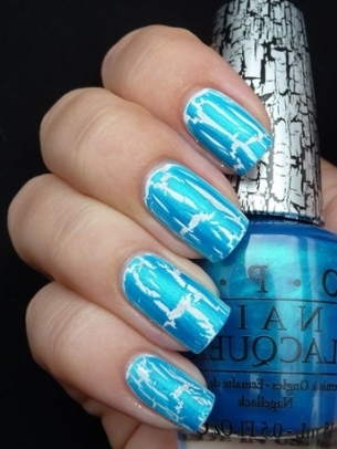 Blue Crackle Nail Art