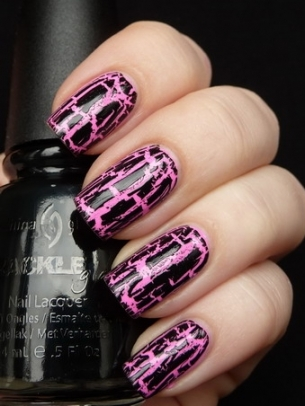 Pink Crackle Nail Art