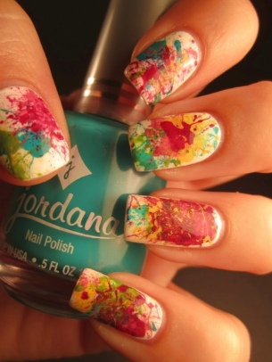 splatter nails thumb Stylish manicure perfect manicure nails in many colors nail art design nail art modern design manicure with decorations elegant manicure colorful shade Colorful nail art design Colored nails art colored nail art beautiful nails