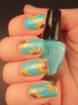 sunflower nail art thumb Fresh nail design for everyday!