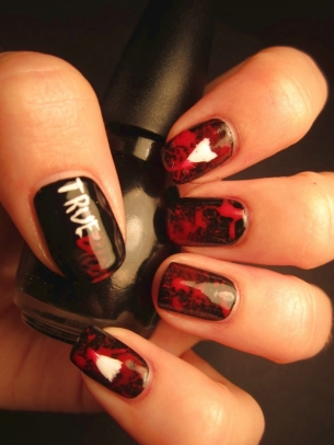 vampire nail art thumb Stylish manicure perfect manicure nails in many colors nail art design nail art modern design manicure with decorations elegant manicure colorful shade Colorful nail art design Colored nails art colored nail art beautiful nails