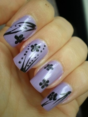 floral nail art thumb stylish nail art purple polish nails decorated with flowers nails art with flowers modern look manicure in pink French manicure Flowers nails art beautiful manicure