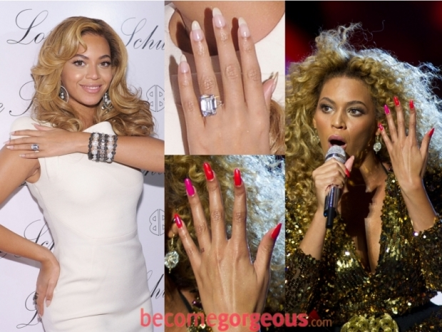 Beyonce with long pointy nails shape