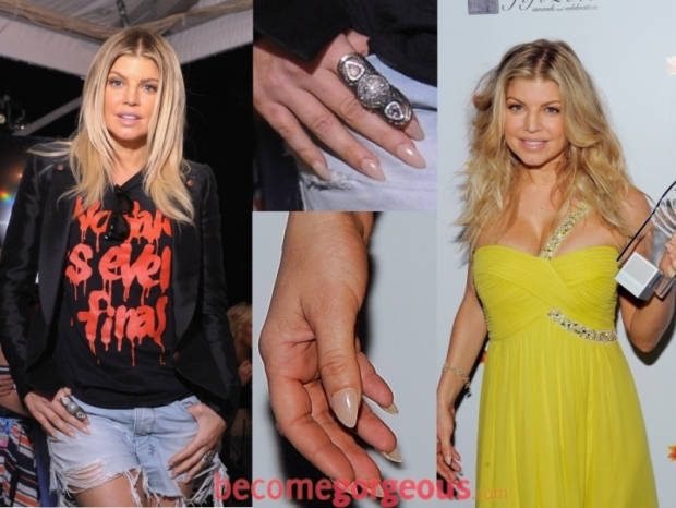 Fergie long stiletto shaped nails
