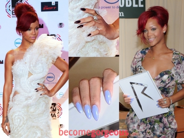 Rihanna long pointy gel nails