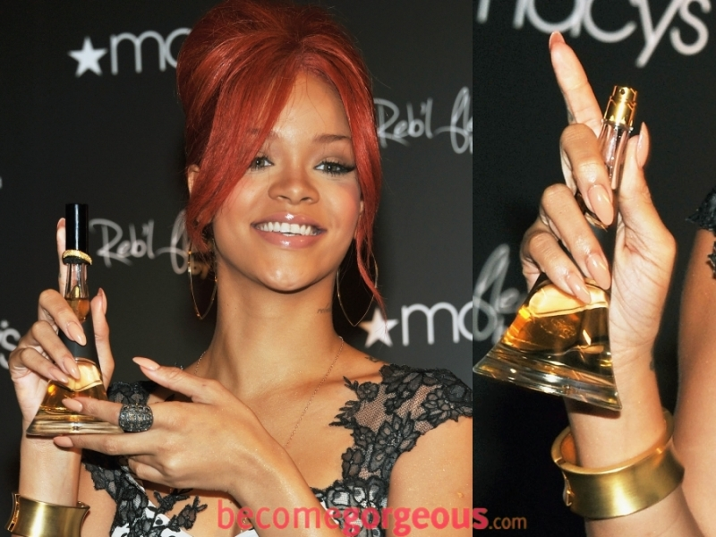 Rihanna with pointy/stiletto shaped nails