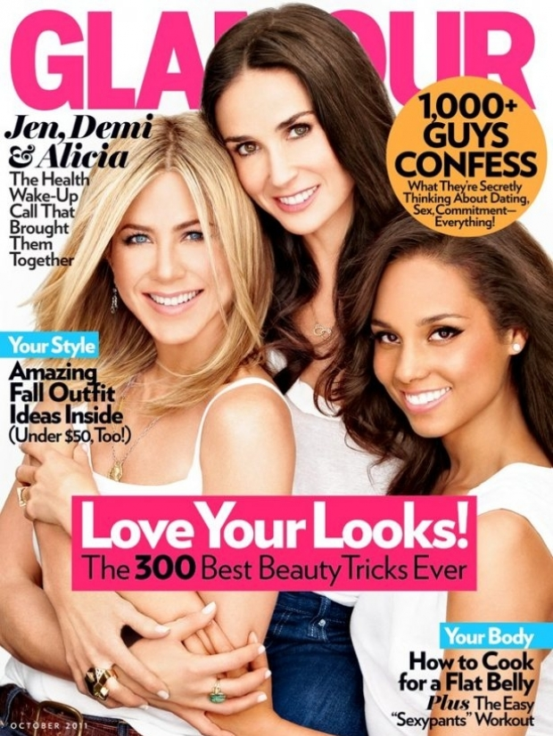 Jennifer Aniston, Demi Moore and Alicia Keys Cover Glamour October 2011