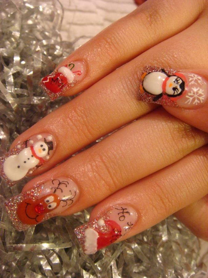 Christmas Nail Art French Manicure Red With White