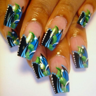 abstact thumb Stylish manicure perfect manicure new trend in manicure nails design nails art nail art manicure in blue decorated nails Blue nails design