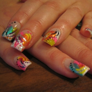 colorful nail art thumb wonderful polish Stylish manicure nails in many colors modern look interesting varnish golden manicure decorated manicure colorful nails beautiful manicure amazing design
