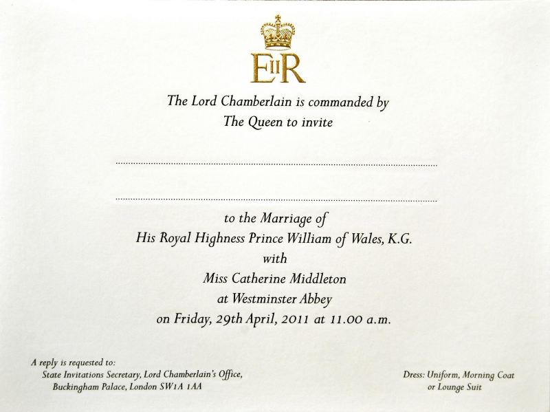 prince william and kate middleton wedding invite. the wedding invitations.