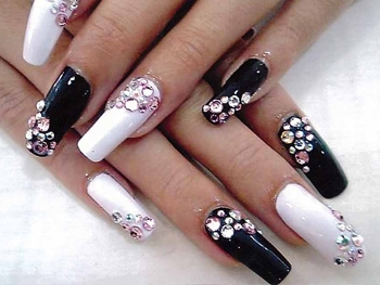 rhinestones nails upgrade of the nails natural nails nail art decorative manicure decorating of nail extension artificial manicure acrylic extension of nails