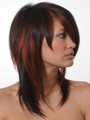 Brunette Hair With Red Highlights
