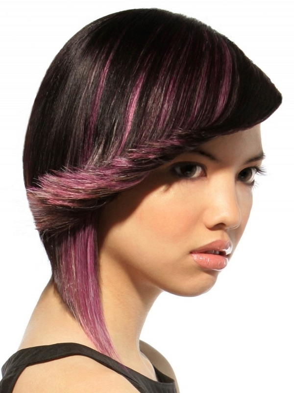 Short Black Hair with Purple Highlights