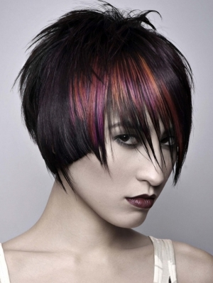 Black Hair and Magenta Highlights