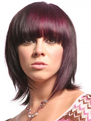 Black Hair With Magenta Highlights