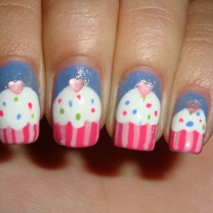 cupcake nails 2 thumb Candy nails art design for cute nails