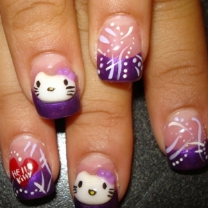 hello kitty 3 thumb Candy nails art design for cute nails