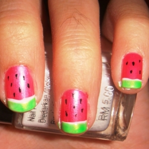 watermelon nails thumb trends in manicure Stylish manicure perfect manicure nails with fruits nails art design nails art manicure with Hello Kitty French manicure with decorations decorated nails Candy nails art