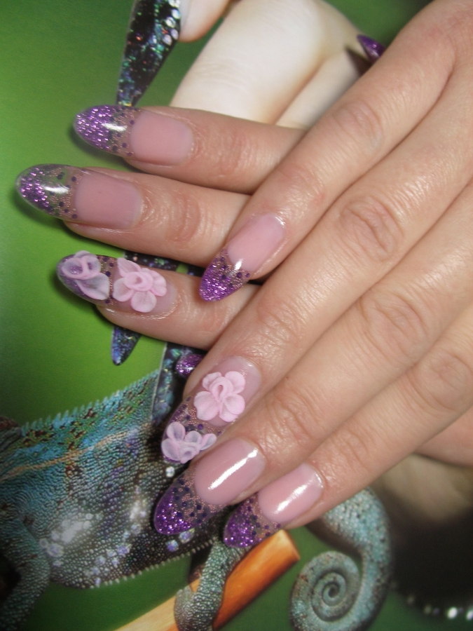 The Cool Glitter nail designs with flower art Picture