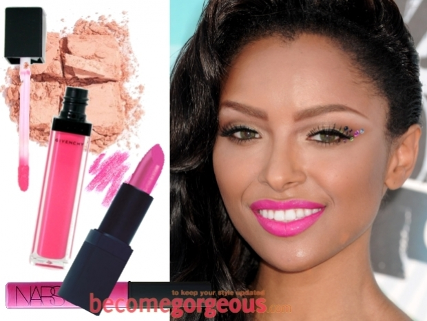 Bold Pink Lips Makeup