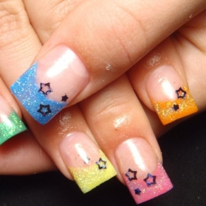 neon nail art thumb Nails with Stars   Latest trends in stars nail art design
