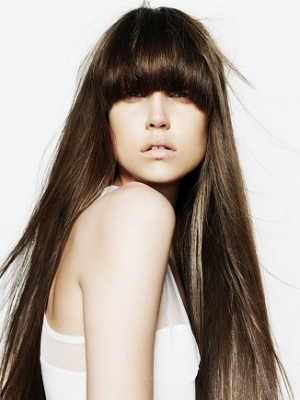 Long Hairstyle with Full Bangs