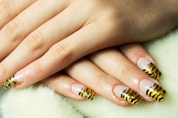 Animal Print French Manicure