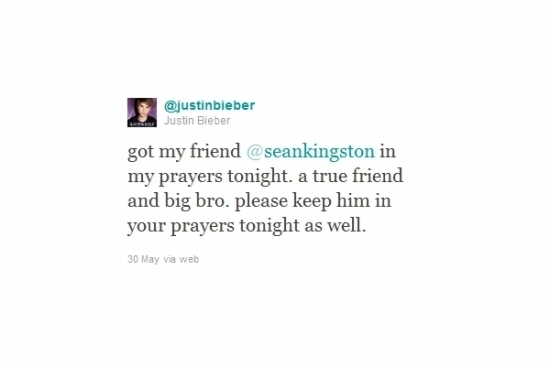 Justin Bieber Tweet to Sean Kingston