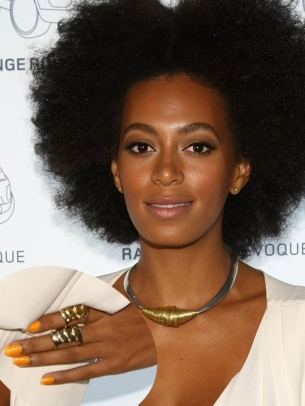 Solange Knowles Orange Nail Color