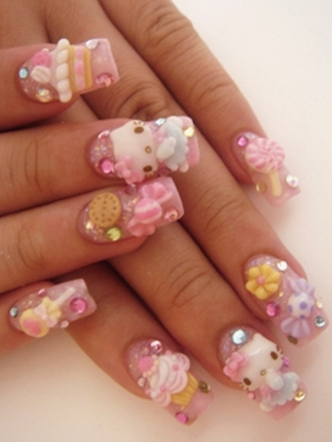 Hello Kitty Nail Art Ideas 2012