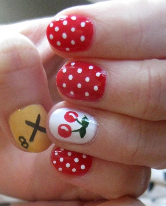 Nail Art Designs 2014 Ideas Images Tutorial Step by Step Flowers Pics  Photos Wallpapers: Cherry - Cherry Nail Art Graham Reid