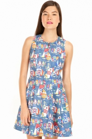 Reversed Printed Twist Back Dress in Fleet Regatta