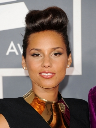 Alicia Keys Updo Hairstyle 2012 Grammy Awards