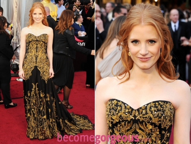 Jessica Chastain 2012 Oscars Gown