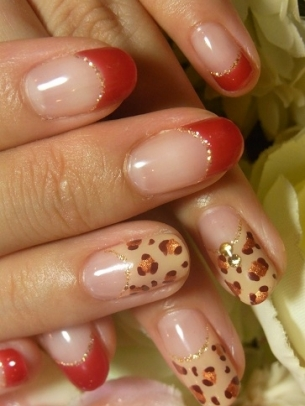 Animal Print French Tips Nail Art