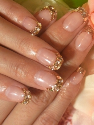 Gold Glitter French Tips Nail Art