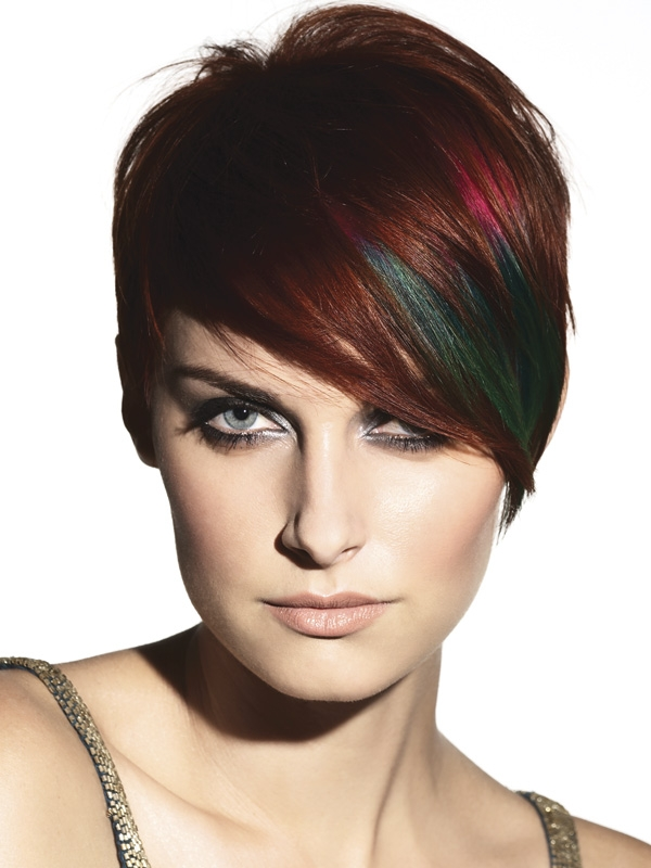 Innovative  Short Haircut Ideas With Color Dark Red Brunette Hair Color Tone Is