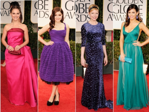 2012 Golden Globes Bright Colored Dresses
